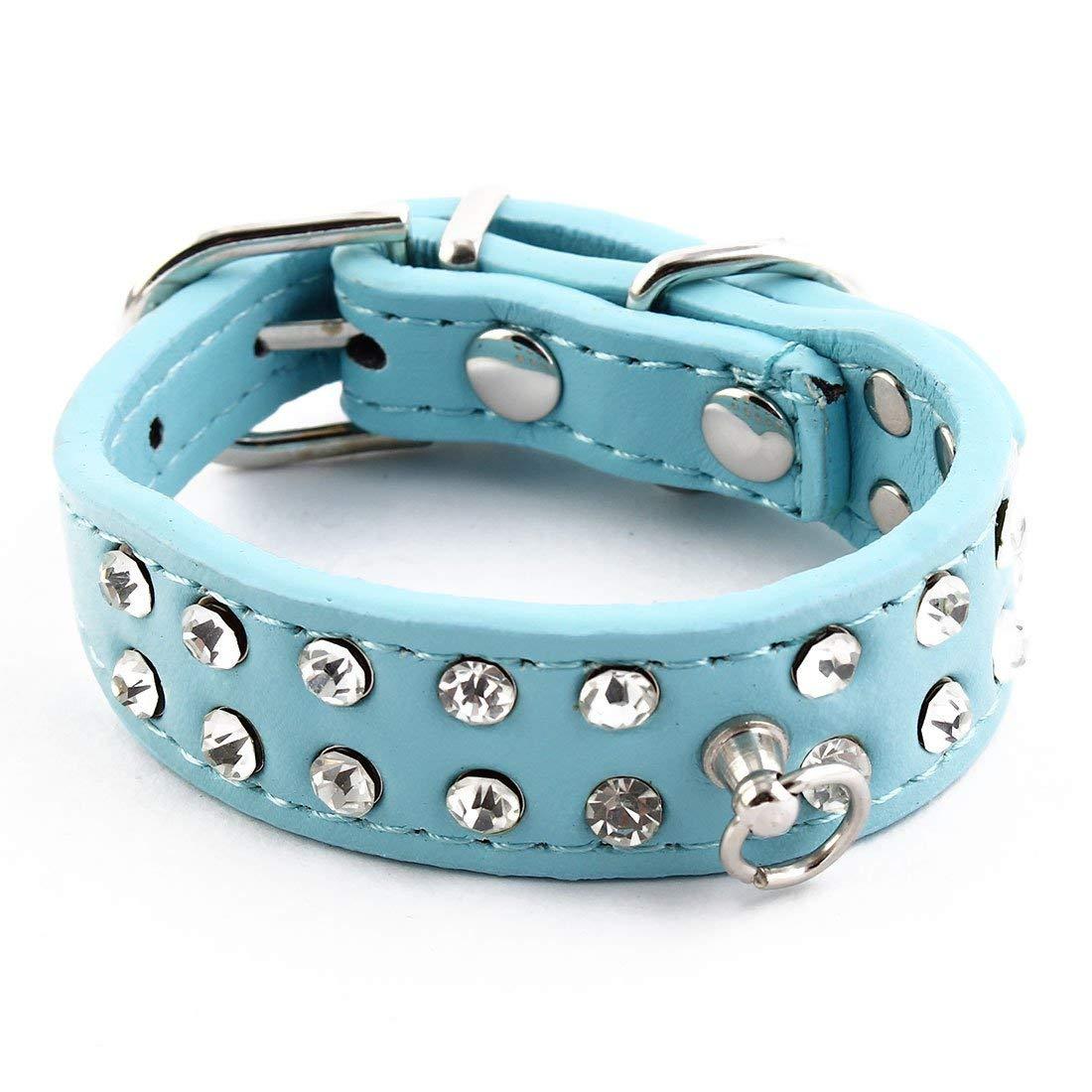 PU Leather Pet Cat Training Faux Diamond Decor Adjustable Belt Neck Collar Sky bluee