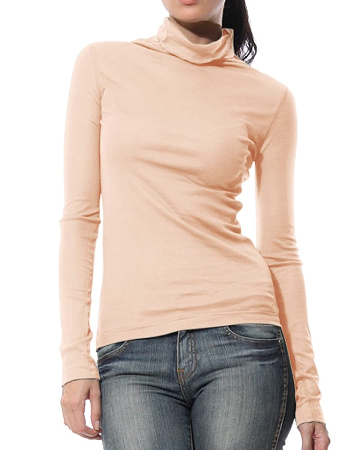 KalvonFu Women's Modal Turtleneck Long Sleeve Pullover Slim Fit Casual T-Shirt