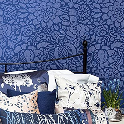 Francesca Spanish Floral Wall Stencil for Painting Large Flower Wallpaper Designs