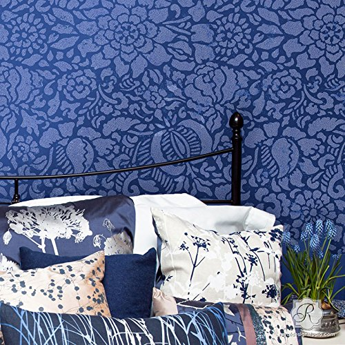 Royal Design Studio Stencils Francesca Spanish Floral Wall Stencil for Painting Large Flower Wallpaper Designs