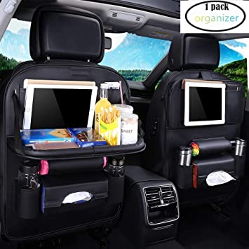 Black - 1 Pack Car Back Seat Organiser Kick Mats PU Leather with Foldable Tablet Holder Car Organisers Car Storage Multi-Function Back Seat Protector for Long Trip and Family