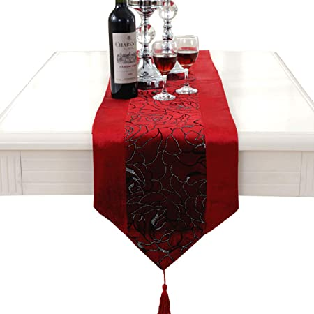 luxury silver flower embroidered red table runners velvet tapestry
