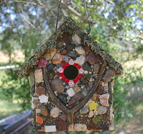 - Rustic Country Garden Birdhouse Handmade Stone & Moss Nesting Box
