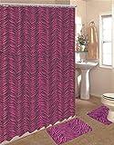 Pink Zebra Print Shower Curtain WPM 15 Piece Zebra Animal Print Memory Foam Bath Rug Set Bathroom Rugs with Fabric Shower Curtain and Decorative Rings (Pink Zebra)