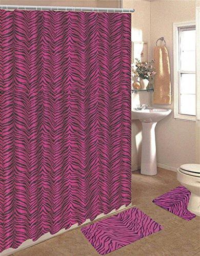 15 Piece Zebra Animal Print Memory Foam Bath Rug Set Bathroom Rugs with Fabric Shower Curtain and Decorative Rings (Pink Zebra)