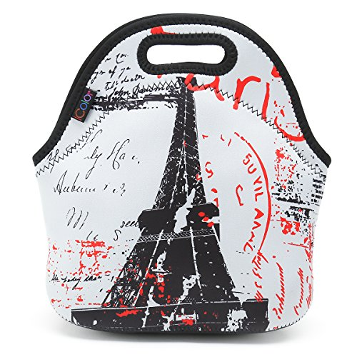 ICOLOR Eiffel Tower Insulated Neoprene Lunch Bag Tote Handbag lunchbox Food Container Gourmet Tote Cooler warm Pouch For School work Office]()