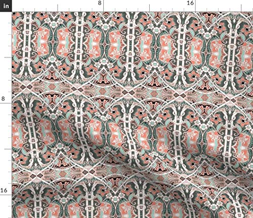 (Spoonflower 2084 Fabric - Twisted Vines Lacy Bubbles Paisley Leaves Spring by Edsel2084 Printed on Performance Piqué Fabric by The Yard)