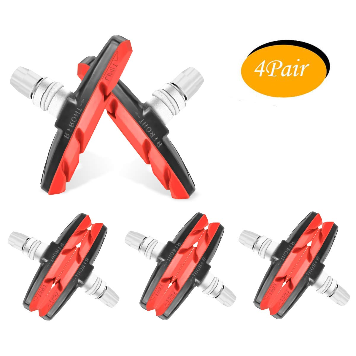 WTSHOP 4Pair V Bike Brake Pads with Hex Nuts and Spacers,Road Mountain Bicycle V-Brake Blocks Shoes (red)