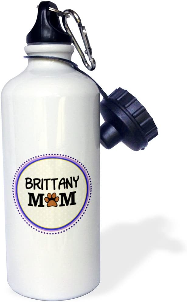 White 21 oz 3dRose wb/_151708/_1 Brittany Spaniel Dog Mom-Doggie Mama By Breed-Paw Print Mum Love-Doggy Lover-Proud Pet Owner Sports Water Bottle