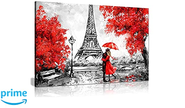 Lienzo impreso en lienzo con diseño de la torre Eiffel de París, pintura al óleo, color rojo, A2 61x41 cm (24x16in): Amazon.es: Hogar