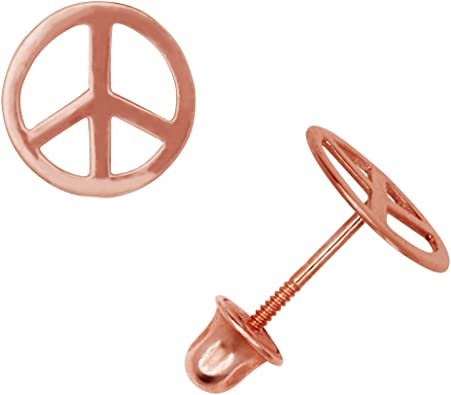 Peace Sign Post Stud Earrings 7mm Polished Sterling Silver
