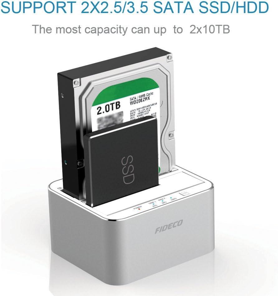 FIDECO Docking Station, Aluminio USB 3.0 Base de conexión con ...
