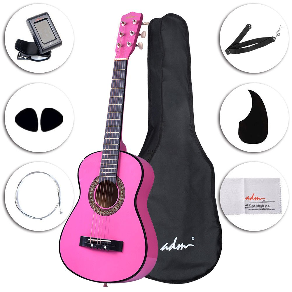 ADM Starter Guitar 30 Inch Acoustic Beginner with Carrying Bag & Accessories, Natural JA102-NR