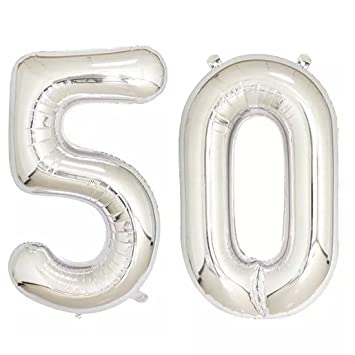 40inch Silver Foil 50 Helium Jumbo Digital Number Balloons 50th Birthday Decoration For Women Or