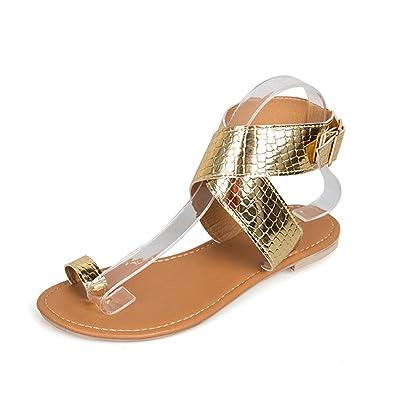 Cross Women's Roman Sandals Female Low Bandage Luoluoluo Beach Heel Slippers Gladiator WQeCrxodB
