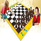 Giant Chess And Checkers Kids Playmat Fun Garden Outdoor Board Game Carpet Rug Floor Toy Mat
