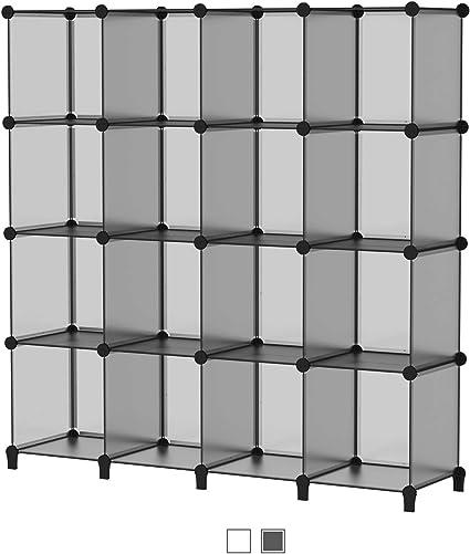 SIMPDIY Storage Cubos modulares 16 Cubos Gris (124x124x30cm) Organizador portátil de plástico Estantería Estante Estante…