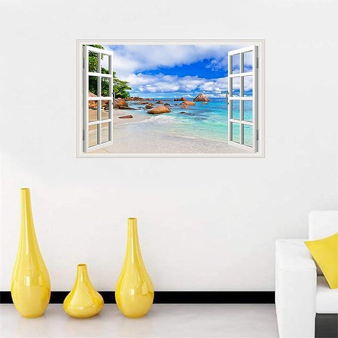 Details about  /H464 Coast Ocean Town Blue Sky Window Wall Decal 3D Art Stickers Vinyl Room