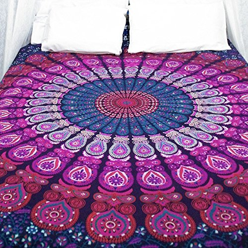 Indian-hippie-gypsy Bohemian-ethnic-psychedelic Peacock-mandala Wall-hanging-tapestry-purple Queen-size-large-84x90