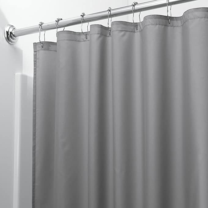 MDesign Water Repellent And Mildew Resistant Fabric Shower Curtain 108 X 72