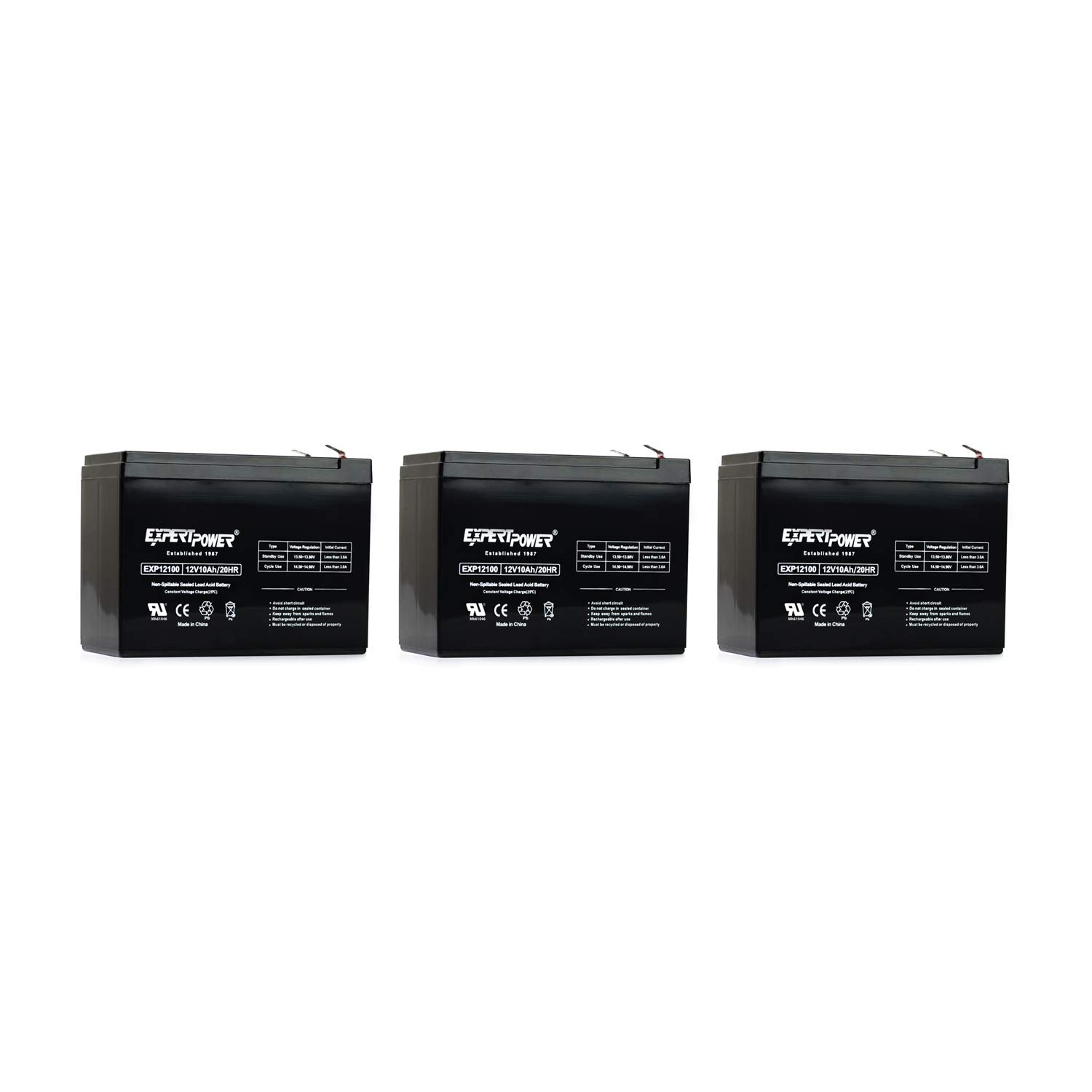 3 X Pack EXP12100 12v, 10Ah Universal Sealed Lead Acid Replacement Battery by ExpertPower