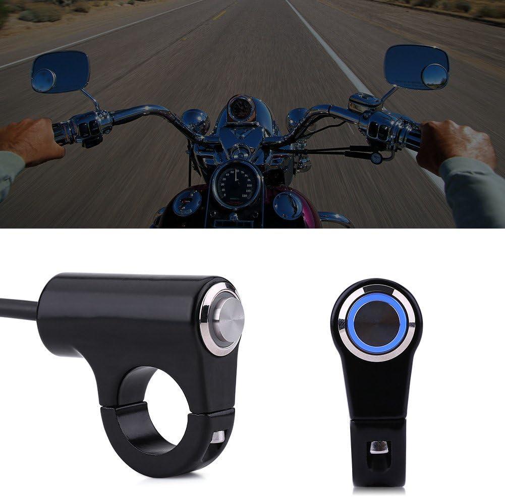 ON//OFF Button with Blue Light Motorrad Lenkerschalter Druckknopfhalterung Scheinwerfer Bremsnebelscheinwerfer EIN//AUS