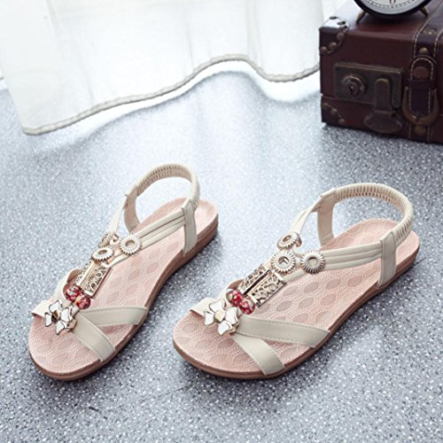 Women Sandal Euone Fashion Women Boho Sandals Leather Flat Sandals Ladies Shoes Beige RCREj0