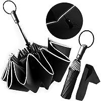 Ombrello Pieghevole Automatico Ombrello Portatile Antivento, Ombrello da Viaggio con Sicura Striscia Riflettente, Compatto Resistente Leggero Asciugatura Rapida, Anti-UV LOCN