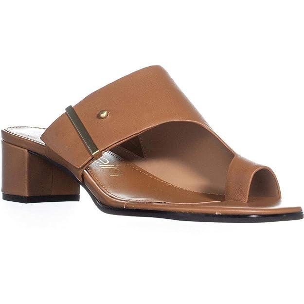6fb6a1e804 Amazon.com | Calvin Klein Womens Daria Nappa Leather Split Toe Casual Slide  Sandals | Heeled Sandals