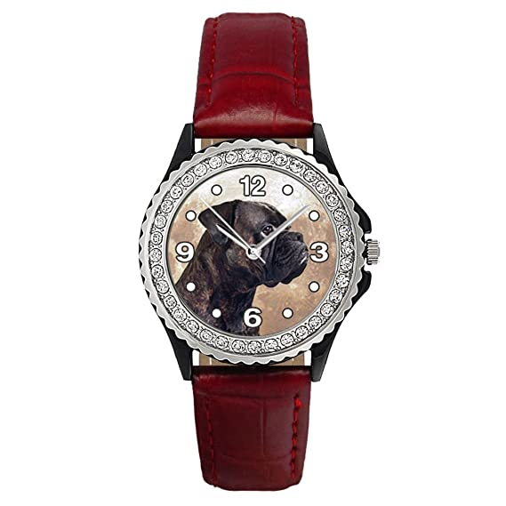 Timest - Boxer alemán Reloj del cuero rojo para mujer con piedrecillas Analógico Cuarzo SGP0159r