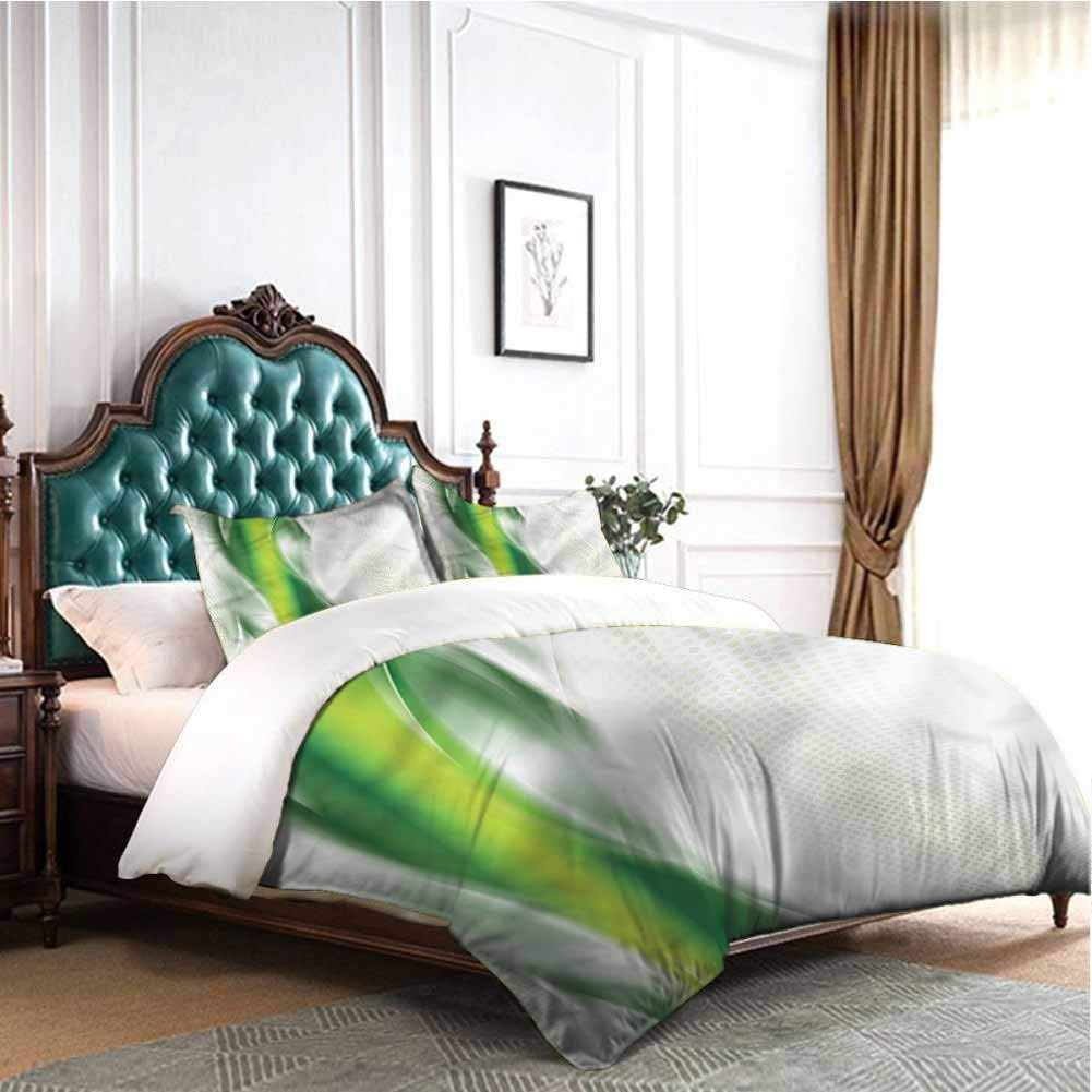 Jktown Abstract Light-Weight Microfiber Duvet Cover Set Cool Wavy Floral Bedding Set for Men, Women, Boys and Girls King