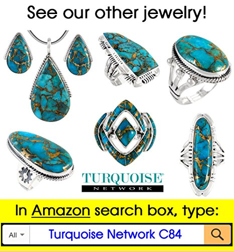 Turquoise Pendant & Earrings Set in 925 Sterling Silver with 20'' Chain (Pendant+Earrings+Chain) by Turquoise Network (Image #6)