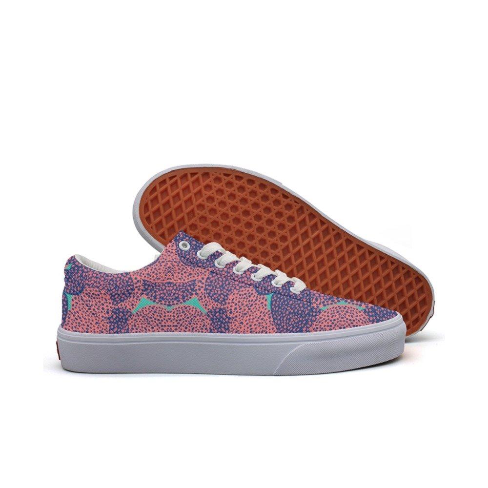 Ouxioaz womens Skateboarding Shoes Canvas art design coral Sport Sneaker