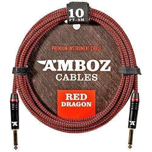Red Dragon Instrument Cable - Noiseless for Electric Guitar and Bass - 10Foot TS 1/4Inch Straight PL