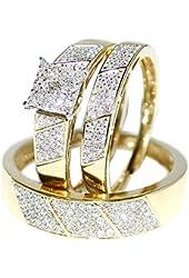 Amazon.com: His Her Wedding Rings Set Trio Men Women 14k