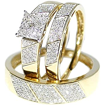 Ordinaire His Her Wedding Rings Set Trio Men Women 10k Yellow Gold