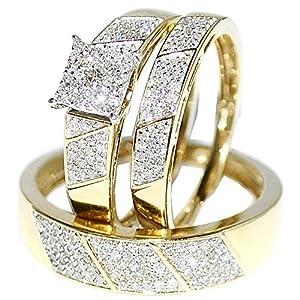 Amazon.com: His Her Wedding Rings Set Trio Men Women 10k