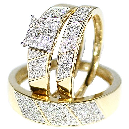amazoncom his her wedding rings set trio men women 10k yellow gold jewelry - Cheap Wedding Rings Sets For Him And Her