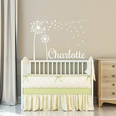 Personalized Name Wall Decal Girl Dandelion/Custom Name and Hearts Wall Decal/Wall Sticker Nursery Vinyl Art. Baby Girl Name Nursery Decor. Children Nursery Wall Decal. Girls Name Decor F20