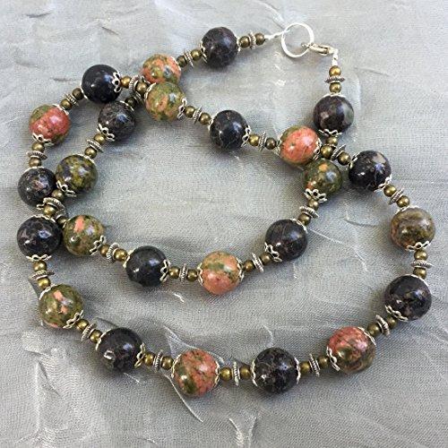 Unakite plum jasper necklace bracelet set 19