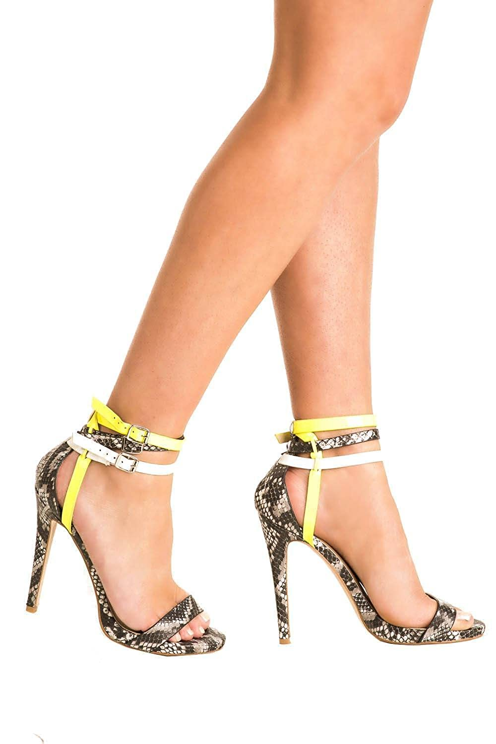 f7ccf5e48d01b4 Pilot womens multi ankle strap high heel snake print sandals in grey shoe  shoes bags jpg