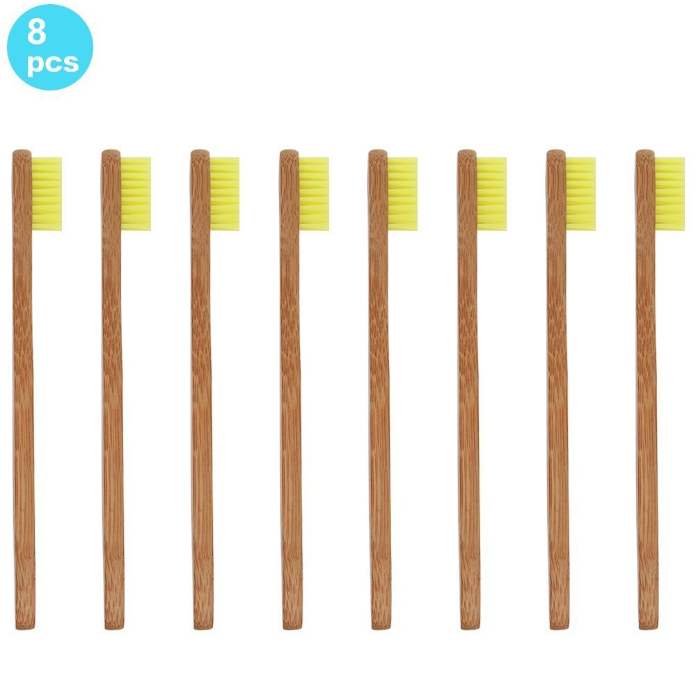 Soni Fox 8pcs bambú cepillo de dientes para niños de Eco Friendly bambú biodegradables con asas y sin BPA de cerdas de nailon para Dental Amarillo Color ...