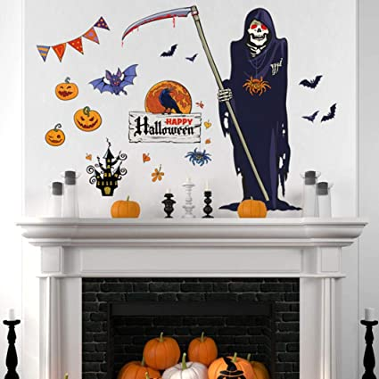 Amazon.com: Vacally Halloween Death Spooky Background Decorated ...