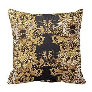 Elegant Gold Baroque Ornate Swirls Pattern Throw Pillowcases