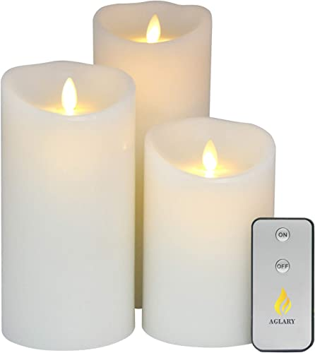 AGLARY Moving Wick Pillar Candle Battery Operated with Remote Control Cycling Timer Real Wax, White Set 5 7 9 for Wedding Decoration, Birthday Candles