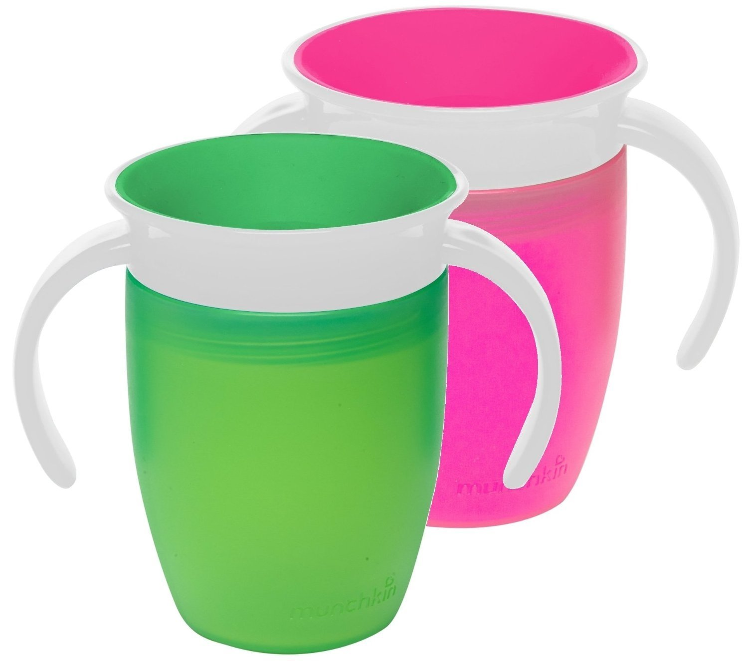 Munchkin Miracle 360 Trainer Cup, Pink/Green, 7 Ounce, 2 Count by Munchkin