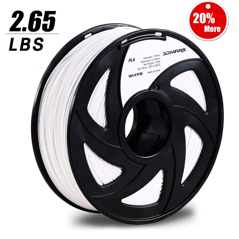 3D Mars PLA 3D Filament, 1.75 mm PLA 3D Printer Filament, 2.65 LBS(1.2KG), Dimensional Accuracy +/- 0.03mm, 1.75 mm Filament for Most 3D Printer, White
