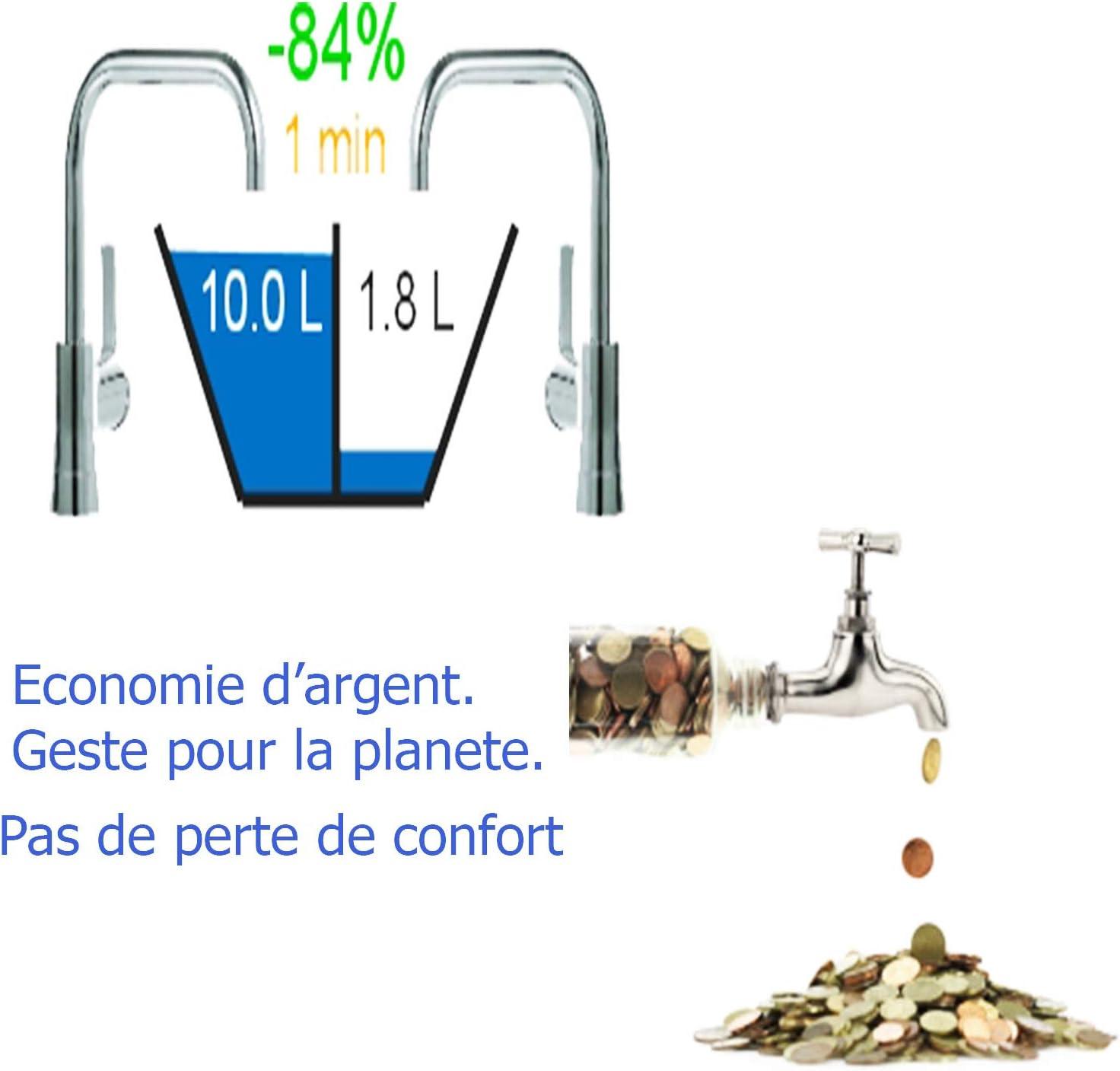 Economiseur D/'Eau Pour Robinet Lavabo Taille Universelle 360 Degres 3 Fonction M24 Ou F22 Femelle Augmente La Pression Et R/éduit Le D/ébit Economie Filtre Robinet
