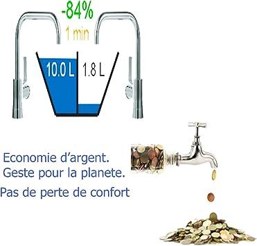 Economizador de Agua Lavabos Aireador Grifo Roc/ío Espuma Ahorrador de Agua Anti-Calc/áreo Cromado Rosca Est/ándar Macho Hembra Reducci/ón del Consumo de Agua Ajustable 30/%-80/%