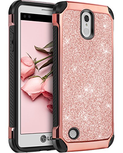 LG Aristo Case, LG LV3 Case, LG K8 2017, BENTOBEN Dual Layer Glitter Sparkle Bling Hard PC Hybrid Laminated with Faux Leather Shockproof Protective Phone Case Cover for LV3/Aristo/V3/MS210, Rose Gold